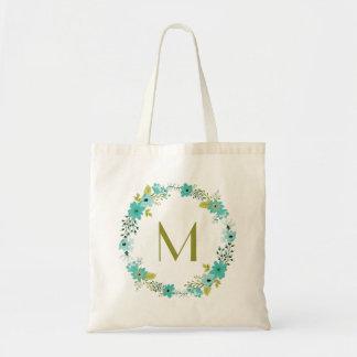 Monograma floral caprichoso de la guirnalda bolsa tela barata