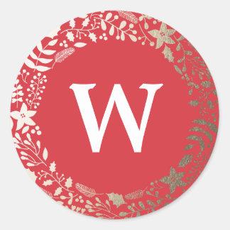 Monograma floral chispeante festivo del día de pegatina redonda