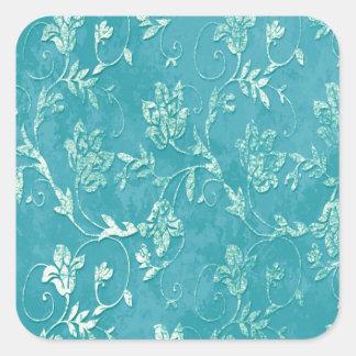 Monograma floral con clase del trullo del vintage pegatina cuadrada