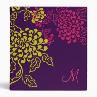 Monograma floral de Contempo púrpura chartreuse
