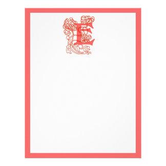 "Monograma floral de ""E"" de Nouveau del arte Membretes Personalizados"