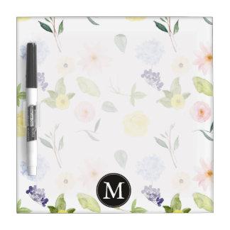 Monograma floral de la acuarela amarilla rosada pizarra blanca
