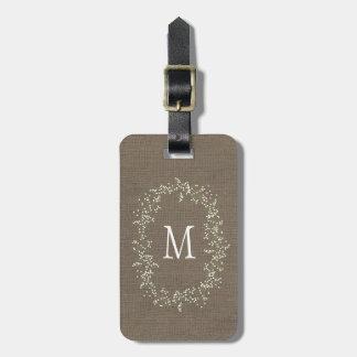 Monograma floral de la arpillera del vintage etiquetas bolsas