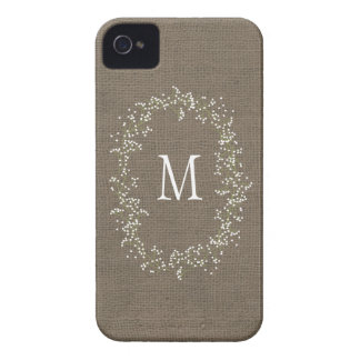 Monograma floral de la arpillera del vintage iPhone 4 Case-Mate cárcasas