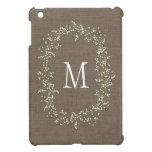 Monograma floral de la arpillera del vintage iPad mini cobertura