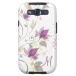 Monograma floral de la lavanda púrpura femenina Ga Galaxy S3 Coberturas