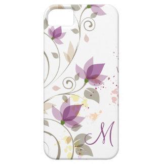 monograma floral de la lavanda púrpura femenina iP iPhone 5 Case-Mate Carcasas