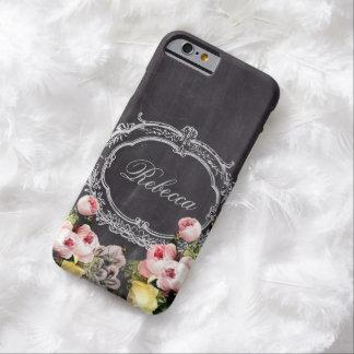 monograma floral de la pizarra elegante femenina funda de iPhone 6 barely there