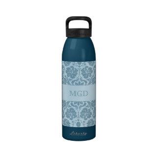 Monograma floral de la turquesa del nouveau del ar botella de agua reutilizable
