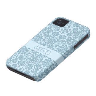 Monograma floral de la turquesa del nouveau del ar iPhone 4 protector