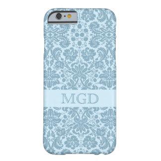 Monograma floral de la turquesa del nouveau del funda de iPhone 6 barely there