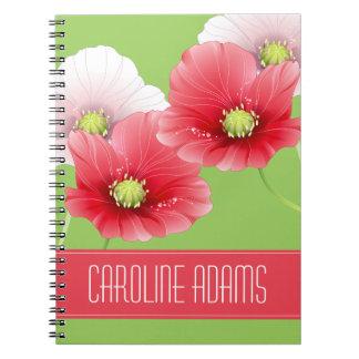 Monograma floral de las amapolas bonitas cuadernos