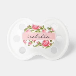 Monograma floral de los rosas femeninos del chupetes para bebes
