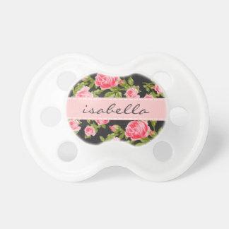 Monograma floral de los rosas femeninos del vintag chupetes de bebe