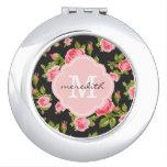 Monograma floral de los rosas femeninos del vintag espejo de viaje