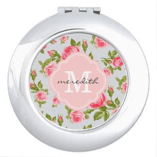 Monograma floral de los rosas femeninos del vintag espejos maquillaje