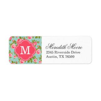 Monograma floral de los rosas femeninos del vintag etiquetas de remite