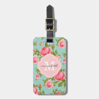 Monograma floral de los rosas femeninos del vintag etiqueta de maleta