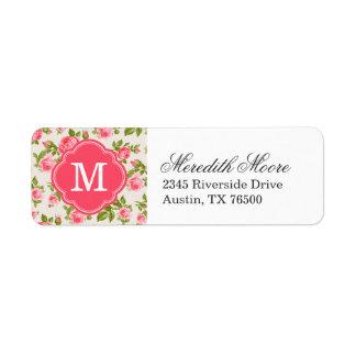 Monograma floral de los rosas femeninos del vintag etiqueta de remitente