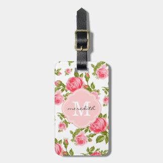 Monograma floral de los rosas femeninos del vintag etiquetas de equipaje