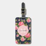 Monograma floral de los rosas femeninos del vintag etiquetas maleta