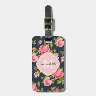 Monograma floral de los rosas femeninos del vintag etiquetas para maletas