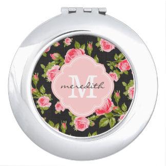 Monograma floral de los rosas femeninos del vintag espejo maquillaje