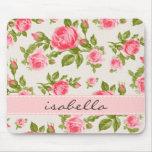 Monograma floral de los rosas femeninos del vintag alfombrillas de raton