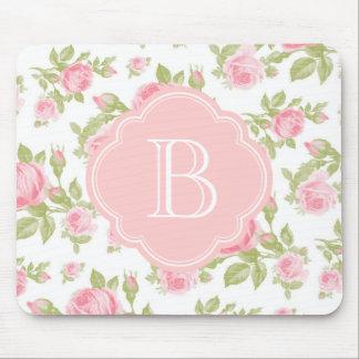 Monograma floral de los rosas femeninos del vintag tapetes de ratón