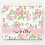 Monograma floral de los rosas femeninos del vintag alfombrilla de ratones