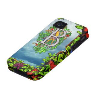 Monograma floral de lujo y Pomegran de la letra B Vibe iPhone 4 Fundas
