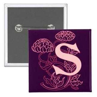 """Monograma floral de Nouveau del arte de """"S"""" Pin Cuadrado"""
