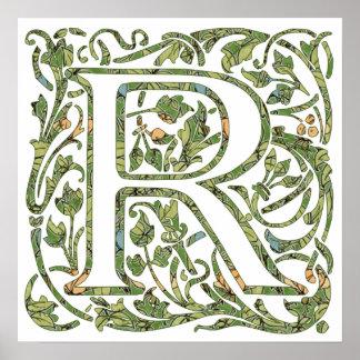 Monograma floral de R Póster