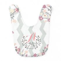 Floral Monograma of feminine roses and chevron Baby Bib