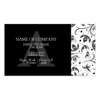 Monograma floral del damasco del diseño elegante tarjetas de visita