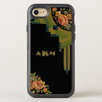 Monograma floral del estilo único del art déco funda OtterBox symmetry para iPhone 7