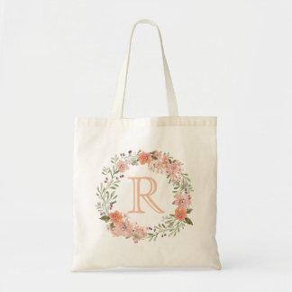 Monograma floral del melocotón romántico bolsa tela barata