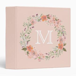 Monograma floral del melocotón romántico