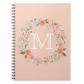 Monograma floral del melocotón romántico libros de apuntes