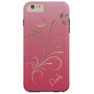 Monograma floral del oro y de la mariposa de los funda para iPhone 6 plus tough