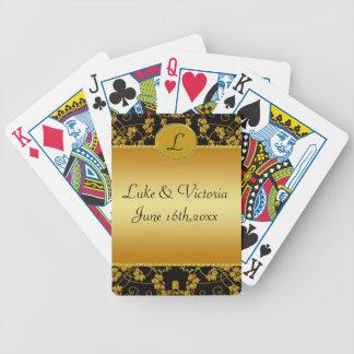 Monograma floral del oro y del boda del negro barajas de cartas