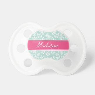 Monograma floral del personalizado del damasco de  chupete de bebé
