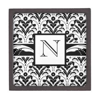 Monograma floral del personalizado del damasco del caja de recuerdo de calidad