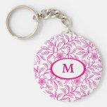 Monograma floral del rosa color de rosa llavero personalizado