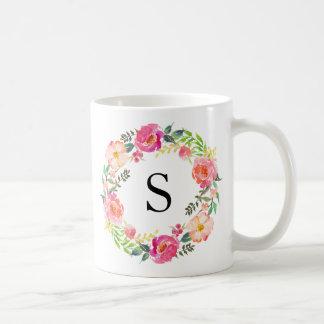 Monograma floral del verano taza de café