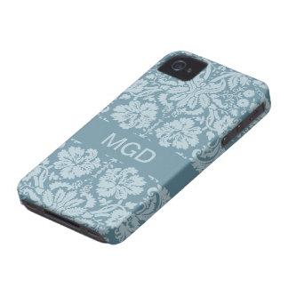 Monograma floral del verde azul del nouveau del ar iPhone 4 cárcasas