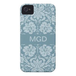 Monograma floral del verde azul del nouveau del ar iPhone 4 Case-Mate carcasa