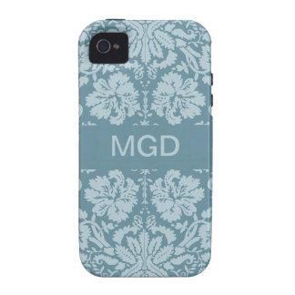 Monograma floral del verde azul del nouveau del ar iPhone 4 funda