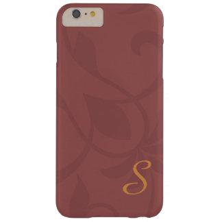 Monograma floral del vino y del oro de Marsala Funda Barely There iPhone 6 Plus
