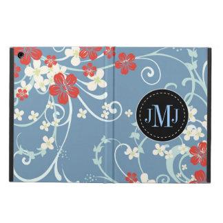 Monograma floral del vintage blanco azul rojo eleg